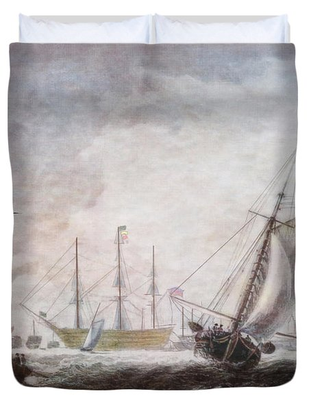 Down To The Sea In Ships Duvet Cover by Lianne Schneider