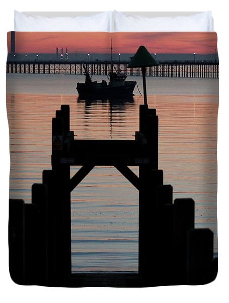Down To The Sunset Sea Duvet Cover