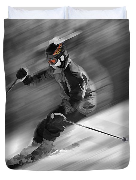 Downhill Skier  Duvet Cover by Dan Friend