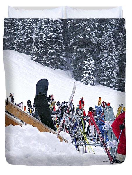 Downhill Skiing Duvet Cover