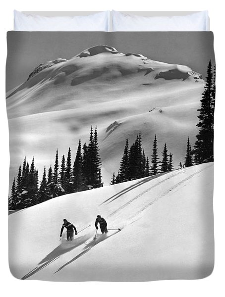 Downhill Skiing In Banff Duvet Cover