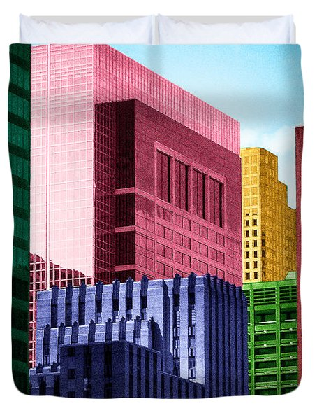 Duvet Cover featuring the photograph Downtown Building Blocks by Bartz Johnson