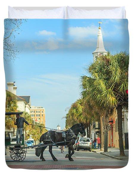 Downtown Charleston Stroll Duvet Cover