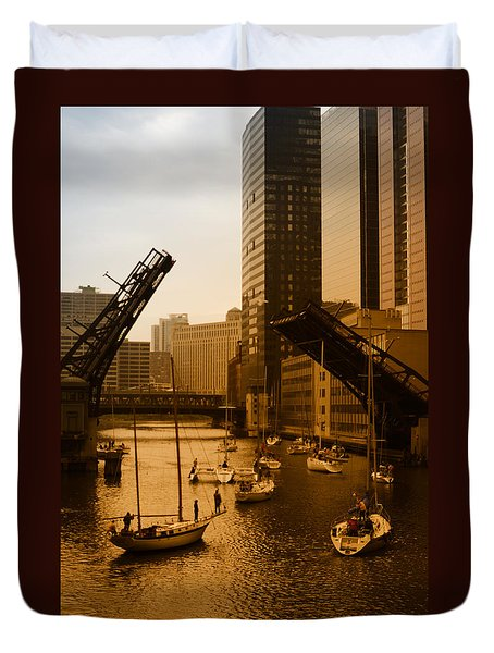 Downtown Chicago Duvet Cover