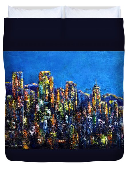 Downtown Denver Night Lights Duvet Cover