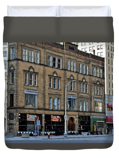 Downtown Detroit Duvet Cover by Frozen in Time Fine Art Photography