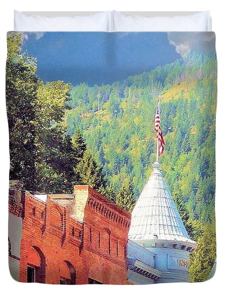 Duvet Cover featuring the photograph Downtown Historic Wallace Idaho by Janette Boyd