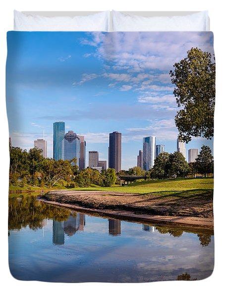 Downtown Houston Panorama From Buffalo Bayou Park Duvet Cover
