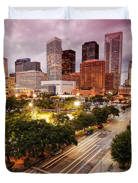 Downtown Houston Skyline During Twilight Duvet Cover