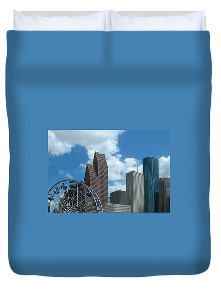 Downtown Houston With Ferris Wheel Duvet Cover by Connie Fox