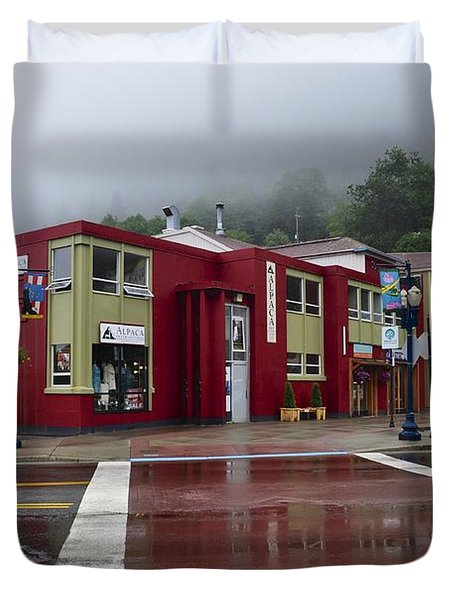 Duvet Cover featuring the photograph Downtown Juneau On A Rainy Day by Cathy Mahnke
