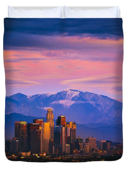 Downtown Los Angeles After Sunset Duvet Cover