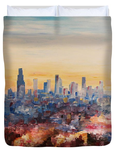 Downtown Los Angeles At Dusk Duvet Cover by M Bleichner