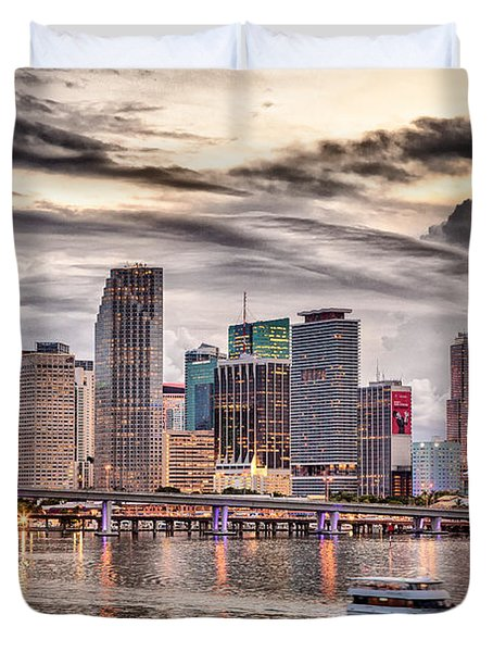 Downtown Miami Skyline In Hdr Duvet Cover