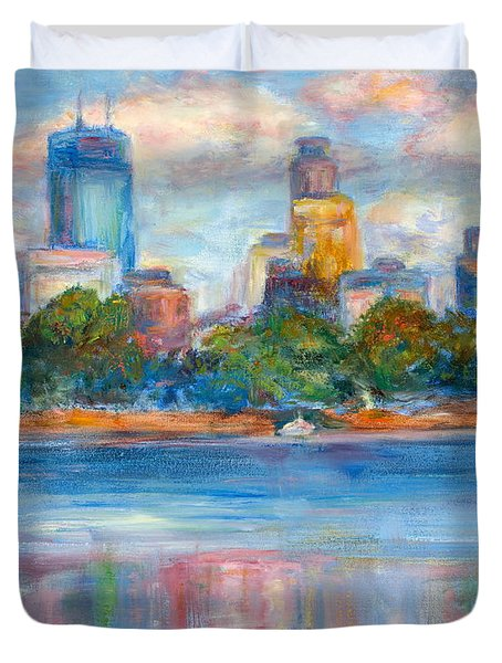 Downtown Minneapolis Skyline From Lake Calhoun II - Or Commission Your City Painting Duvet Cover