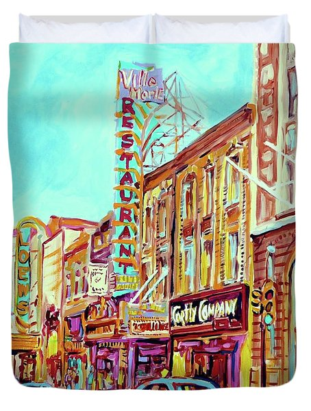 Downtown Montreal Duvet Cover by Carole Spandau