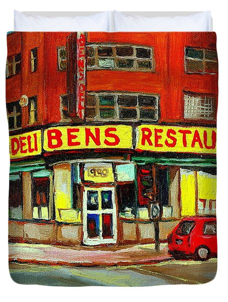Downtown Montreal Memories Ben's Restaurant Deli  Le Fameux Smoked Meat Produits By Carole Spandau Duvet Cover by Carole Spandau