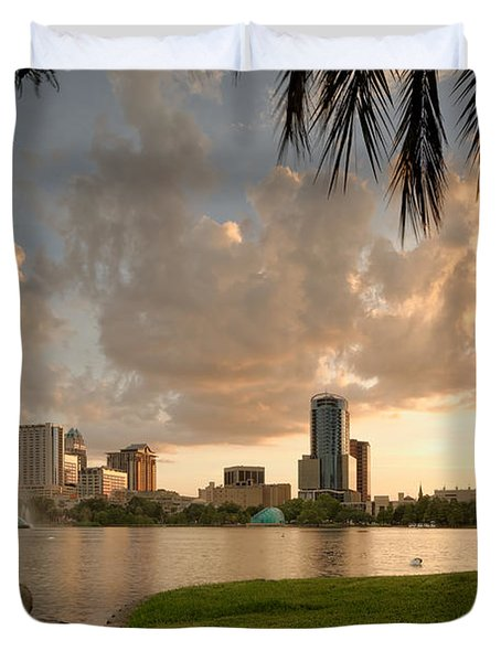 Downtown Orlando Skyline Lake Eola Sunset Duvet Cover