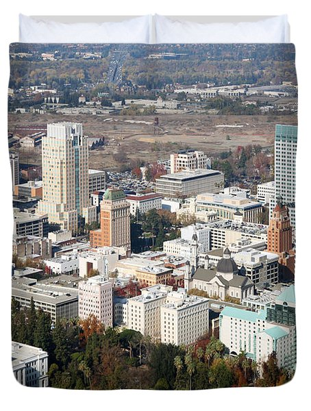 Downtown Sacramento And Capitol Park Duvet Cover by Bill Cobb