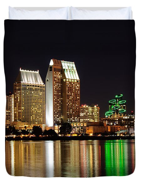 Duvet Cover featuring the digital art Downtown San Diego by Gandz Photography