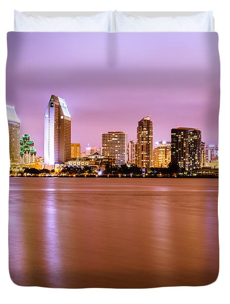 Downtown San Diego Skyline At Night Duvet Cover by Paul Velgos