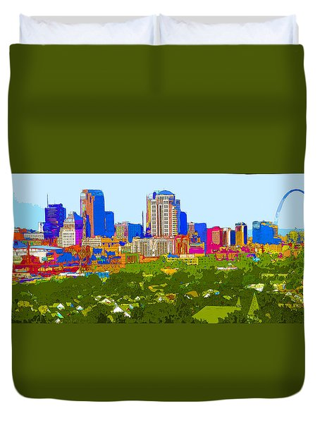 Downtown St. Louis From The Southwest Abstract Duvet Cover