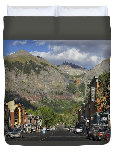 Downtown Telluride Colorado Duvet Cover