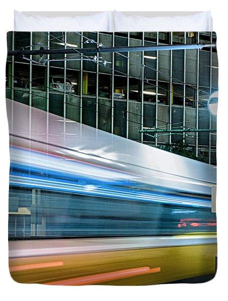 Downtown Train Duvet Cover