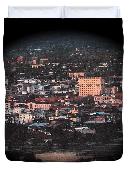 Downtown Tucson Arizona With Movie Theaters 1957-2013 Duvet Cover
