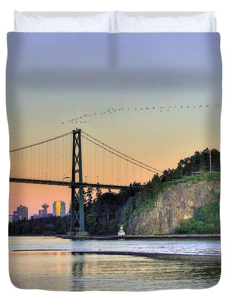Downtown Vancouver And Lions Gate Bridge At Twilight Duvet Cover by Eti Reid