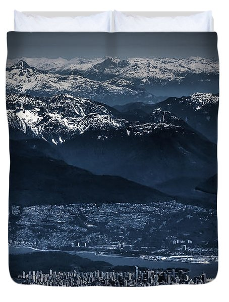 Downtown Vancouver And The Mountains Aerial View Low Key Duvet Cover by Eti Reid