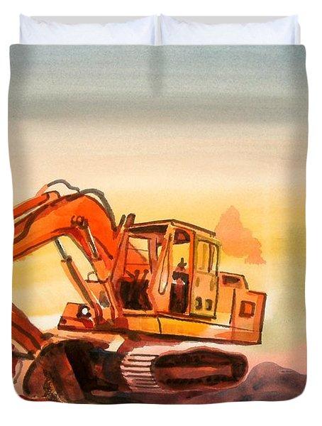 Dozer In Watercolor  Duvet Cover