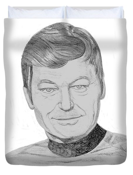 Duvet Cover featuring the drawing Dr. Leonard Mccoy by Thomas J Herring