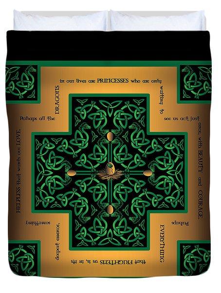 Dragon Egg Celtic Cross Duvet Cover