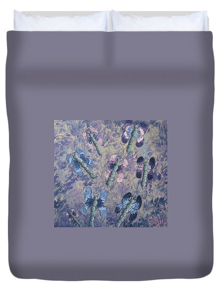 Duvet Cover featuring the painting Dragon Fly Blues by Megan Walsh