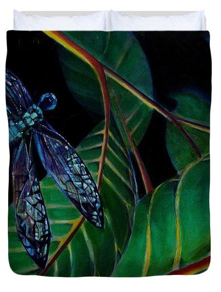 Dragon Fly Soaring - Botanical Duvet Cover by Grace Liberator