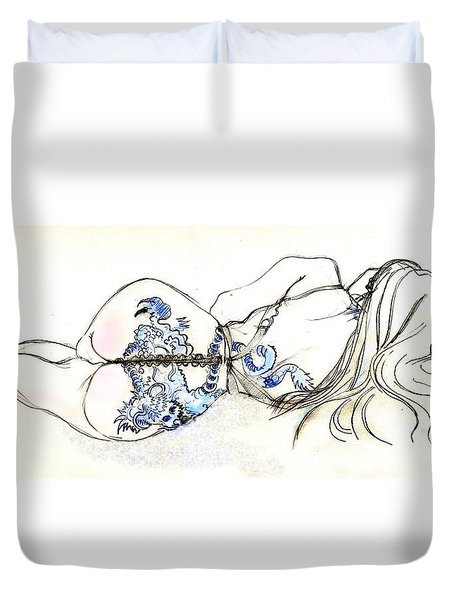 Duvet Cover featuring the painting Dragon Girl by Carolyn Weltman