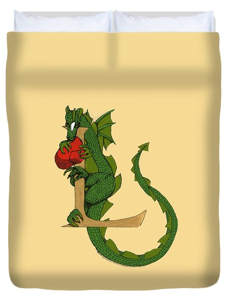 Dragon Letter L Duvet Cover