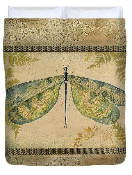 Dragonfly Among The Ferns-1 Duvet Cover
