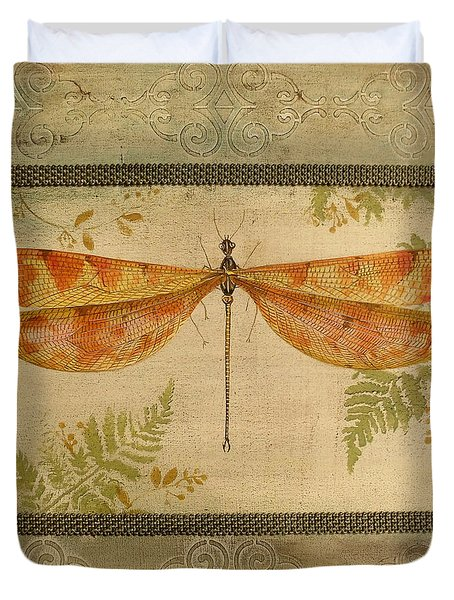 Dragonfly Among The Ferns-2 Duvet Cover by Jean Plout