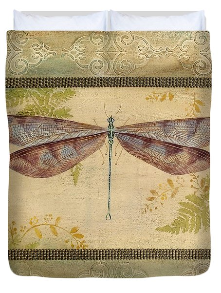 Dragonfly Among The Ferns-3 Duvet Cover