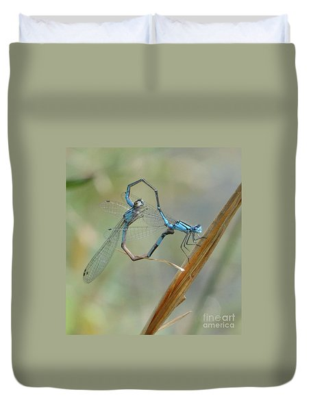 Dragonfly Courtship Duvet Cover by Amy Porter