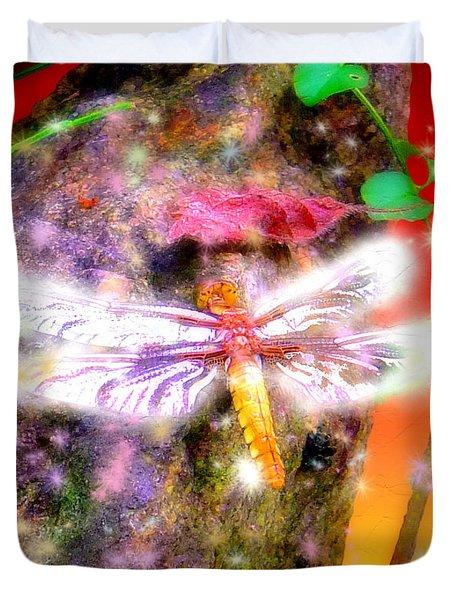 Duvet Cover featuring the digital art Dragonfly by Daniel Janda
