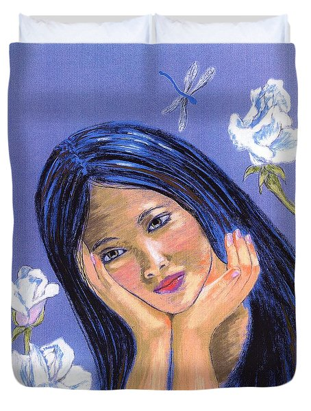 Duvet Cover featuring the painting Dragonfly Dreamer by Jane Small