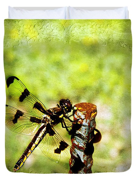 Dragonfly Eating Breakfast Duvet Cover by Andee Design