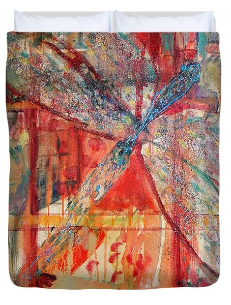 Dragonfly In A Window Duvet Cover by Avonelle Kelsey