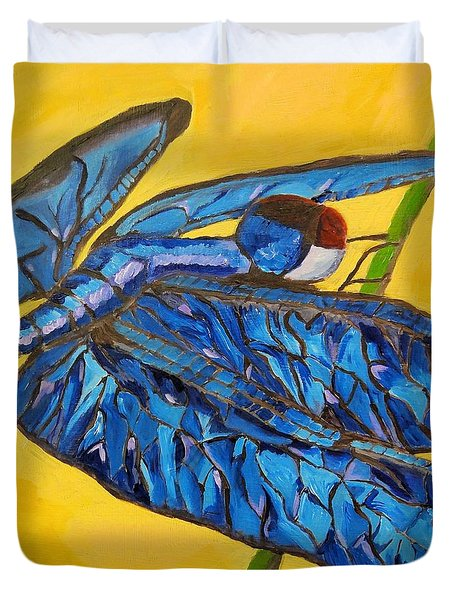 Duvet Cover featuring the painting Dragonfly In Blue by Lisa Brandel