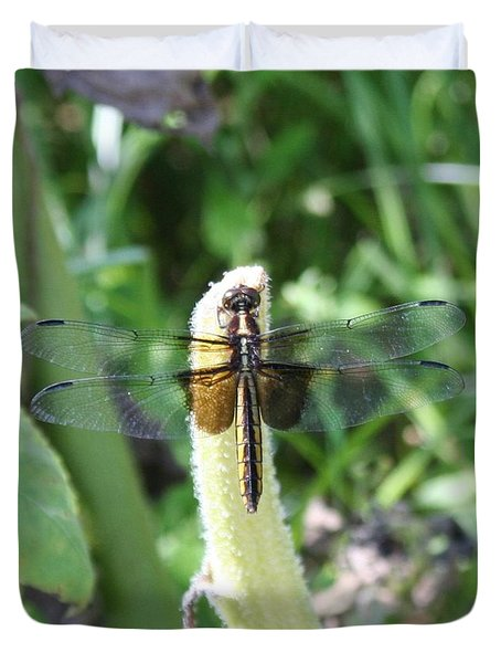 Duvet Cover featuring the photograph Dragonfly by Karen Silvestri