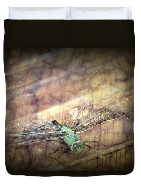 Dragonfly Leap Of Faith Duvet Cover by Dawna Morton