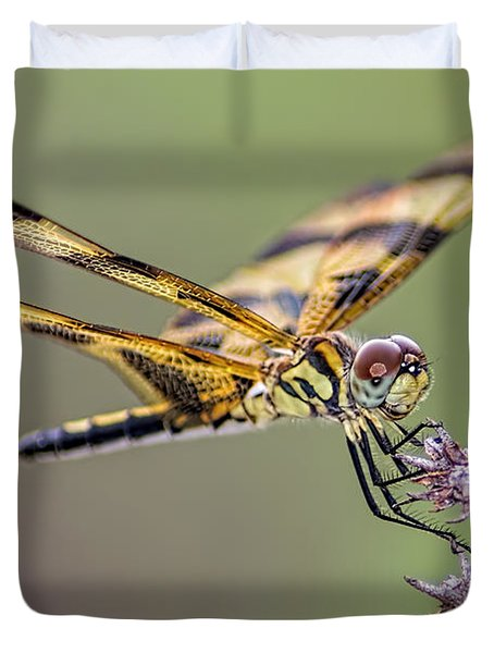 Duvet Cover featuring the photograph The Halloween Pennant Dragonfly by Olga Hamilton